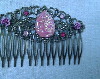 bronze hair comb and Pink Rhinestone cabochon