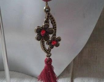 Earrings ' Burgundy tassel and Flower Earrings