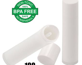 Lip Balm Containers - Lip Balm Stick Tubes - Cosmetic Containers Lip Balm (100 Tubes, White) for DIY Lip Balm Kit