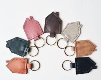 Keyring black/ leather keychain/ trinket/ leather keyring/ leather trinket/leather charm/ leather house key/trinket leather/colorful trinket