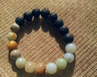 Grounding Lava Rock and Amazonite bracelet. Essential oil diffuser- Yoga Bracelet, Mala Beads Meditation Bracelet Yoga Jewelry