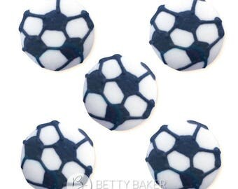 Hand Piped Football Soccer Sugar Decorations - Cupcake, Cake, Cookie Sugar Decorations. Edible Football Cake Toppers. Pack of 12.