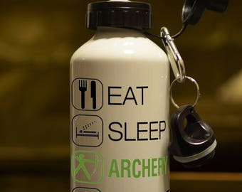 ARCHER GIFT. Eat Sleep Archery Printed 500ml Water Bottle. Sports Accessory Personalised With Your Choice of Name / Message Accessory