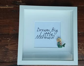 Shadow Box Frame//Mermaid//Minifigure//Gift//Birthday//God Child//Grand Child//Mothers Day//Personalise//Kids Room//Nursery