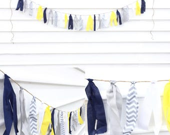 Navy-Chevron fabric garland