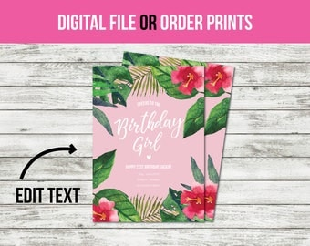 Pink Tropical Birthday Invitations, Party Invitations, Birthday Invitations for Girls, Birthday Invitations for Women (1018) CUSTOM TEXT!