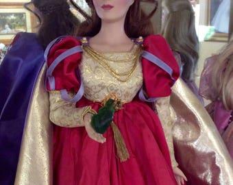 Princess Kiss porcelain doll, Franklin Mint collectible doll