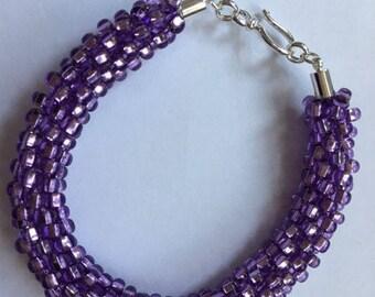 Kumihimo Bracelet:  Purple