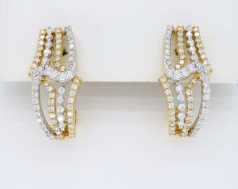 18K Two-Tone Gold Diamond Earrings