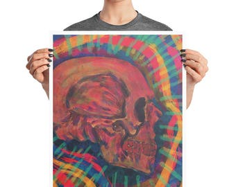 Colorful Rainbow Skull Oil Paint Art Poster, 8x10, 16X20, Abstract Modern Print