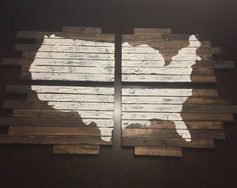 United States Map Wood 4 Piece Wall Hanging