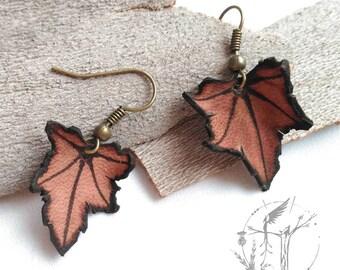 Autumn leaf pendant. Handmade Leather pendant