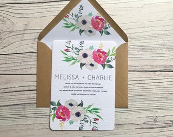 Spring Floral Wedding Invitation and RSVP - Rustic Boho Invite - Pink Blooms Wedding Stationery