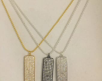 Crystal Dog Tag Necklace