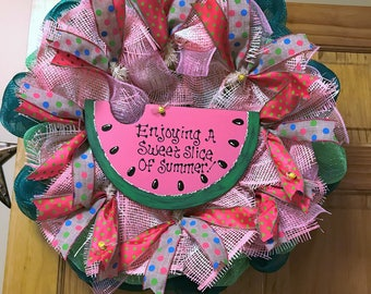 Enjoy a Sweet Slice Of Summer Deco Mesh Ribbon Wreath