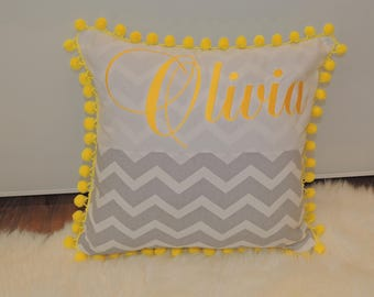 Personalized Baby Pillow,Nursery Kids Decor Pillow,monogrammed pillow,Home Decor Pillow,Customized Pillow,Pom pom pillow,Embroidered Name