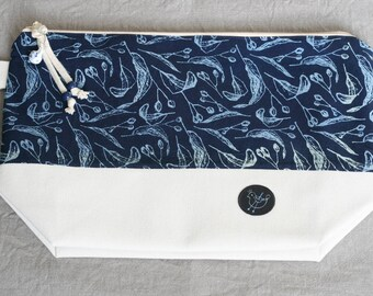 Tilia indigo print - Medium bag with zipper
