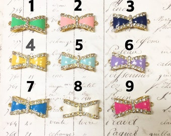 4pc Ribbon connector with rhinestones, Choose your favorite color, bow connector, Gold-plated,