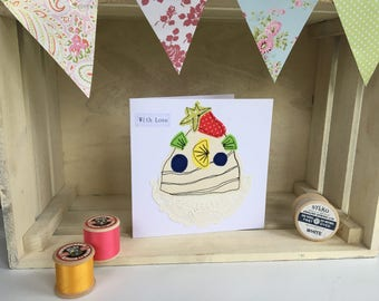 Handmade pavlova greetings card, stitched card, birthday card, blank card, embroidered card, sewn card, applique, fabric card