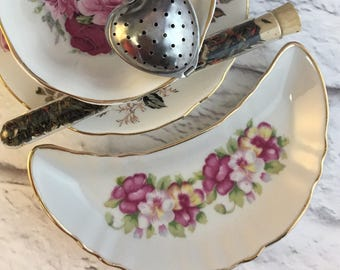 Sidecar for Teacup and Saucer Cookie Crumpet Carrot Celery Dish Vintage Kidney Shaped Bone Fine China Porcelain Versatile Tea Time