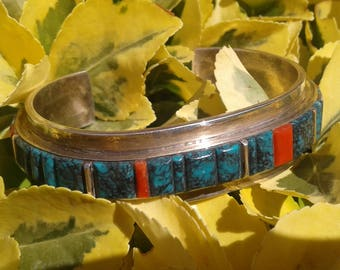 Vintage Native American Navajo Sterling Silver,Turquoise and Coral Cuff Bracelet Signed L.McCray