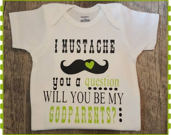 Mustache, Will You Be, Godparents, I Mustasche You A Question, Will You Be My Godparents?