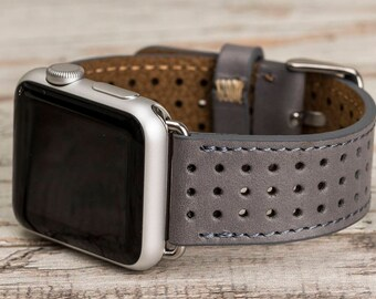 Gray Perforated Apple Watch band, 42mm, 38mm, Leather Apple band, Apple watch strap, Leather Apple band, Apple watch series 1-2-3
