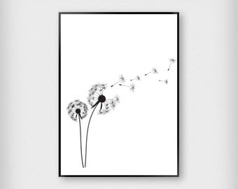 Dandelion Print | Botanical | Black - White | Plant - Monochrome - Poster