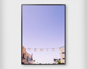 Venice Beach Print | Photography | Pink - Blue | California - Beach - Poster