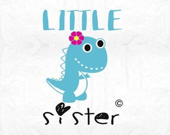 little sister dinosaur dino  SVG Clipart Cut Files Silhouette Cameo Svg for Cricut and Vinyl File cutting Digital cuts file DXF Png Pdf Eps
