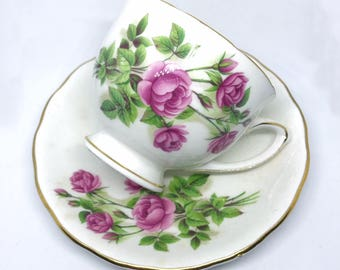 FREE SHIPPING - Cheeky China, CUSTOM!!Pink and Green Floral Tea Cup & Saucer