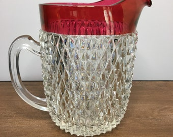 Vintage Indiana Diamond Point Ruby Flash Water Pitcher - 52 ounces