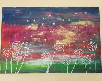 24x30  modern abstract art painting dandelions