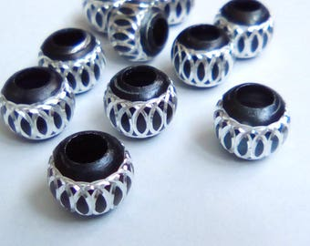 10 pearls round 8mm black lace metal