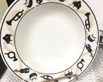 MAESTRO By Lynn's Stoneware Rimmed SOUP /PASTA Bowl Retired Dinnerware Black & White Instruments Piano Music Theme Rimmed Soup / Pasta Bowls
