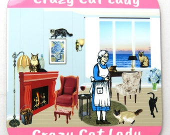 Crazy Cat Lady Home Scene Coaster, Crazy Cat Lady Drinks Coaster, Ideal Cat Lovers Gift
