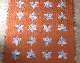 Reduced: Vintage Star Quilt/ Six Point Star Quilt/ Quilting Bee Project/ Masculine Quilt/ Summer Weight Quilt/ Goldenrod Colored Quilt/ Neck