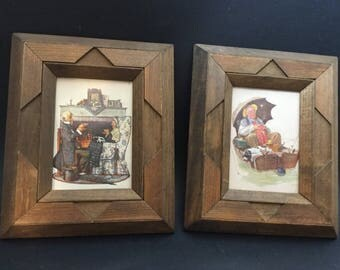 Rare Vintage Wood Frames With Norman Rockwell Prints of the Elderly Retired
