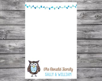 Owl- Personalized Notepad- Watercolor- 4x6