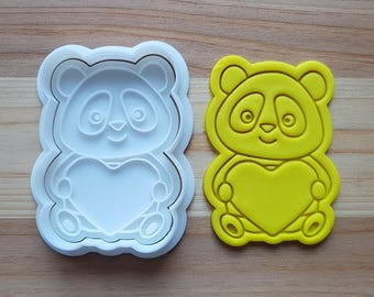 Panda holding Heart Cookie Cutter and Stamp
