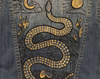 Golden Serpent with Elements Denim Jacket- hand-painted