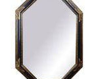 Vintage Hollywood Regency Black and Gold Wall Mirror