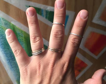 Barebones Stacker Rings || 14 gauge thick 14k Gold and Sterling Silver