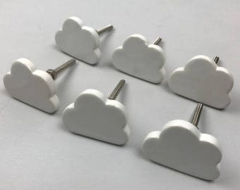 Set of 6 Pretty White Ceramic CLOUD Knobs/Drawer Pulls