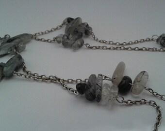 Necklace chain and quartz gemstones