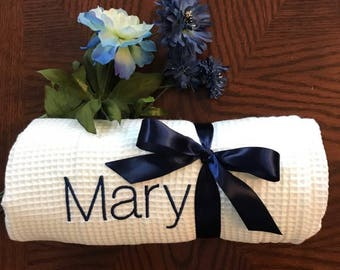 Bridesmaids set of FIVE  Bath Wraps, Spa Wrap, Towel Wrap, Waffle Towel Wrap, Monogram Towel  Wrap