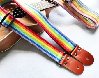 """Promotion Item(2 color available)!NuovoDesign Fancy rainbow """"Hope"""" Ukulele strap,Whisky color leather ends.Tie string & end pin included"""