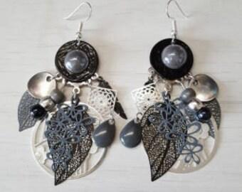Earrings, black, grey, silver