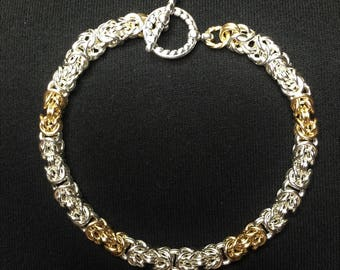 Silver & Gold 2 and 1 Byzantine Weave Chainmaille Bracelet 4th of July Special Offer