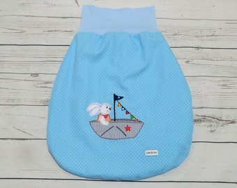 Infant sleeping bag from 0 to 6 months baby bluewith fleece feed and embroidery bunny on boat, Schlafsack, Pucksack babyblau hase im Boot